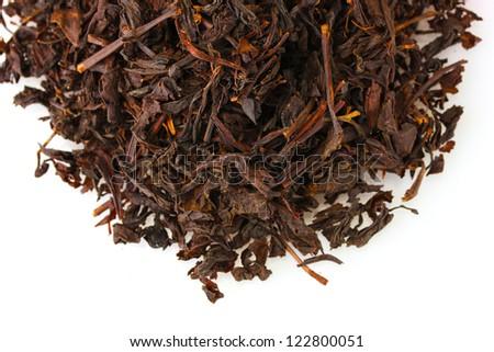 aromatic black dry tea, isolated on white - stock photo