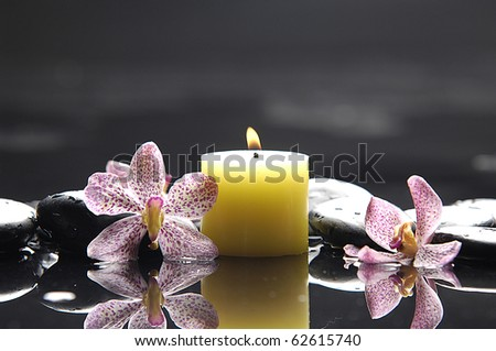Aromatic candles and orchid flower for spa objects, reflection - stock photo
