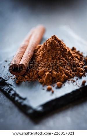aromatic cinnamon - stock photo