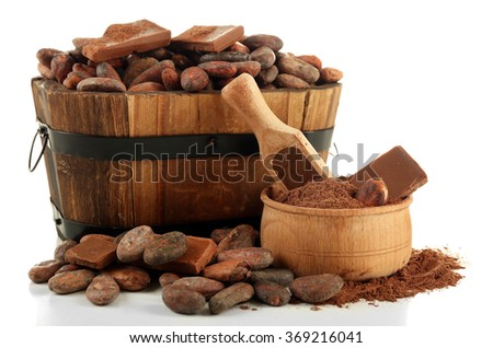 Aromatic cocoa beans and chocolate isolated on white background, close up - stock photo