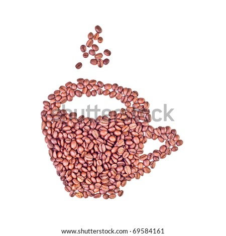 aromatic coffee beans cup - stock photo