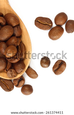 aromatic coffee grains are photographed in studio - stock photo