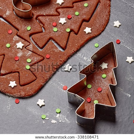 Aromatic dough for Christmas gingerbread tree cookies  - stock photo