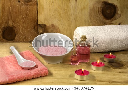 Aromatic essence with bath salts and candels for SPA  - stock photo