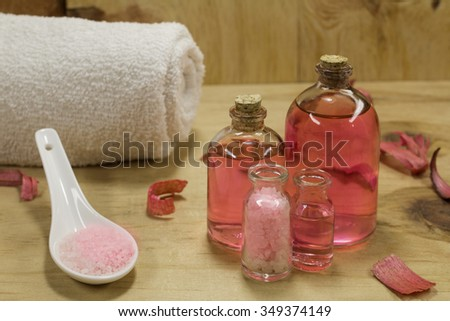 Aromatic essence with bath salts for SPA - stock photo