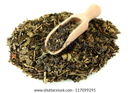 aromatic green dry tea, isolated on white - stock photo