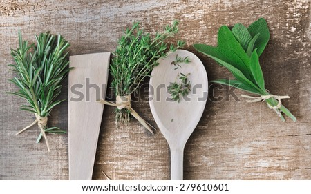 aromatic herbs on wooden background with spoons  - stock photo