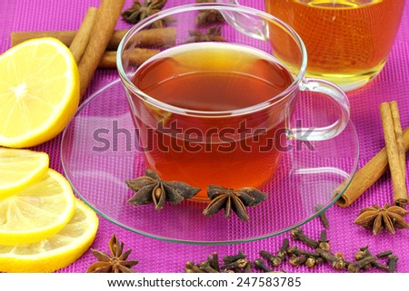 Aromatic hot tea on a cold day.