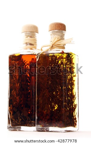 Aromatic oil and balsamic vinegar - stock photo