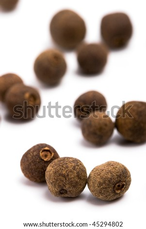 aromatic pepper closeup on white background