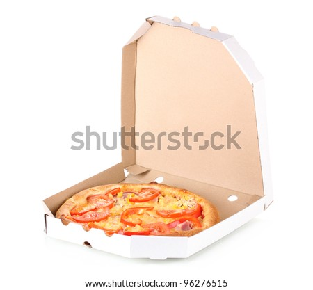 Aromatic pizza in box isolated on white