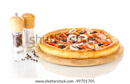 Aromatic pizza isolated on white - stock photo