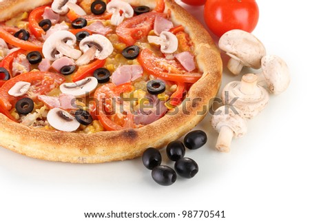Aromatic pizza with vegetables and mushrooms close-up isolated on white - stock photo
