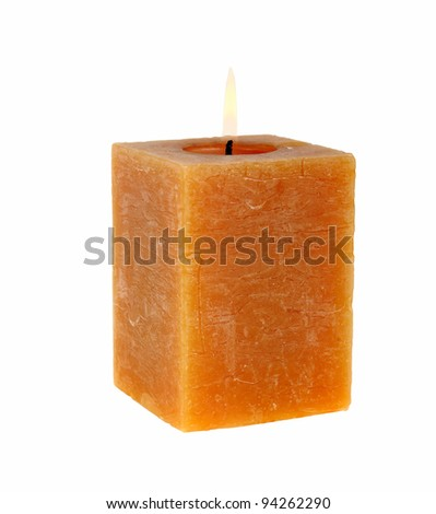 Aromatic rectangular candle on a white background