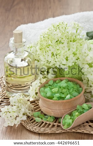 Aromatic sea salt, essential oil and towel for SPA, massage and relax/Aroma SPA set  - stock photo