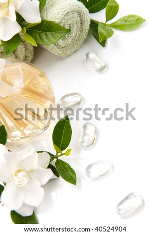 Aromatic spa set - Reed Diffuser and fresh gardenia flowers. - stock photo