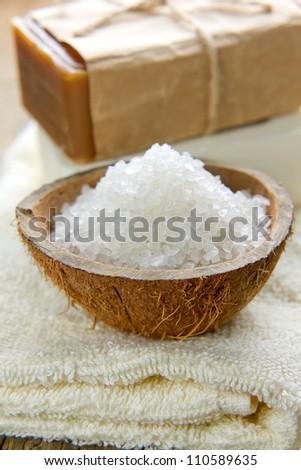 Aromatic spa set with sea salt - stock photo