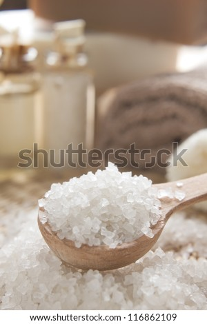 Aromatic spa set with sea salt and soap - stock photo
