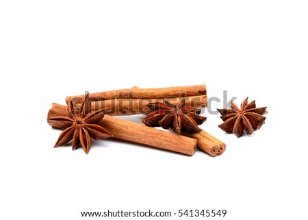 Aromatic star anise and cinnamon isolated on white background