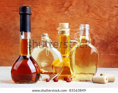 Aromatic wines, liqueurs, tincture and spirits in elegant bottles, still life - stock photo