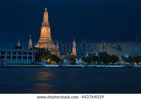 Aroon temple in Thailand at night