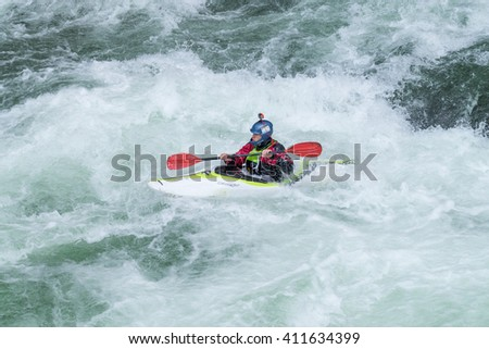 AROUCA, PORTUGAL - APRIL 23: Unidentified athlete at the Paivafest on april 23, 2016 in Arouca, Portugal.