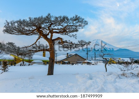 Around Kawaguchi Lake after the heavy snow storms in the past 120 years in 19 February 2014, Kanagawa, Japan - stock photo