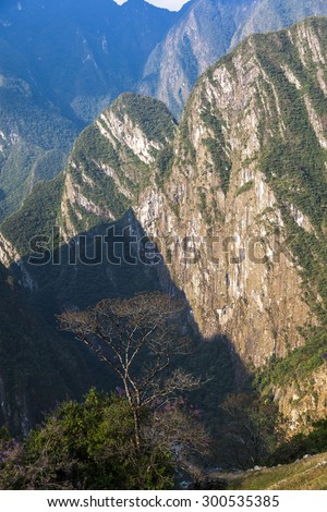 Around Machu Picchu, was designed Peruvian Historical Sanctuary in 1981 and a World Heritage Site by UNESCO in 1983. - stock photo