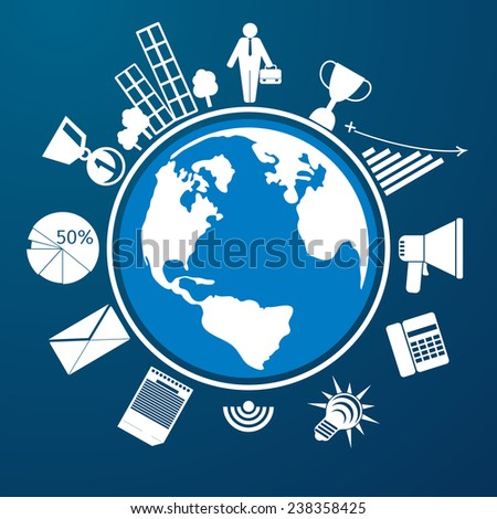 Around the world. Earth planet with item icons man city graph letter megaphone. Raster version - stock photo