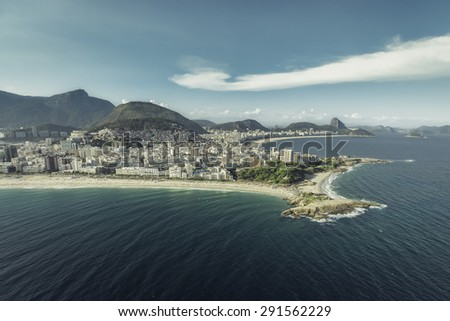 Arpoador peninsula between Ipanema and Copacabana Beach in Rio De Janeiro, Brazil - stock photo