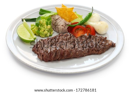 arrachera, mexican spiced skirt steak - stock photo
