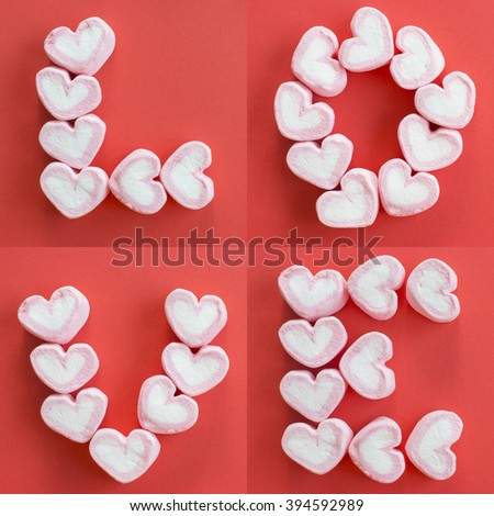 Arrange pink heart marshmallows as LOVE word on red background