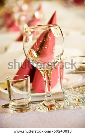 Arranged celebration table in fancy restaurant - stock photo