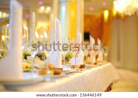 Arranged wedding table at restaurant - stock photo