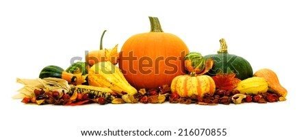 Arrangement of autumn vegetables forming a border over white - stock photo