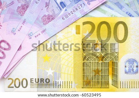 Arrangement of banknotes - stock photo
