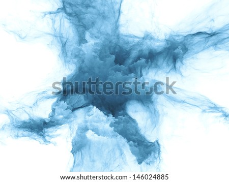 Arrangement of bursting strands of fractal smoke and paint on the subject of design, science, technology and creativity - stock photo