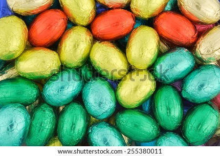 arrangement of colorful Easter Eggs - stock photo