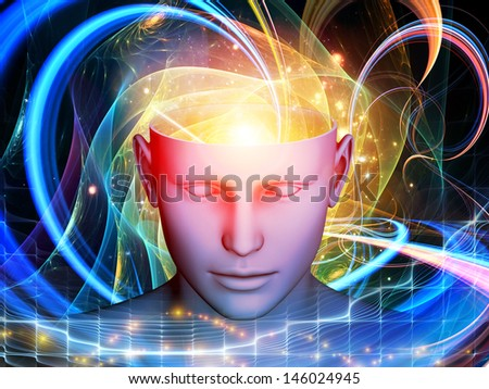 Arrangement of cutout of male head and symbolic elements on the subject of human mind, consciousness, imagination, science and creativity - stock photo
