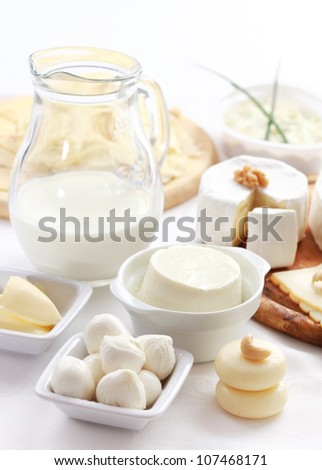 Arrangement of dairy products on a table - stock photo