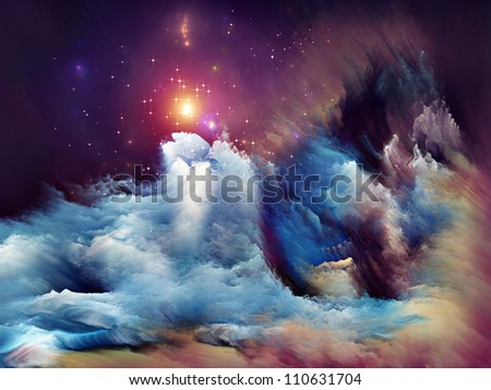 Arrangement of dreamy forms and colors on the subject of dream, imagination, fantasy and abstract art
