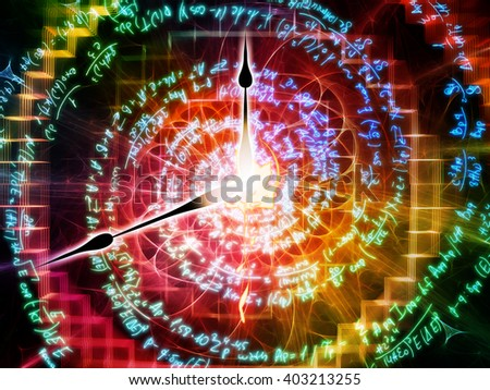Arrangement of formulas, spirals and clock hands on the subject of time, math, science and education - stock photo