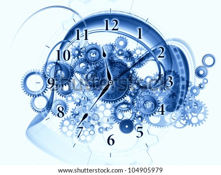 Arrangement of gears, clock elements, dials and dynamic swirly lines on the subject of scheduling, temporal and time related processes, deadlines, progress, past, present and future - stock photo