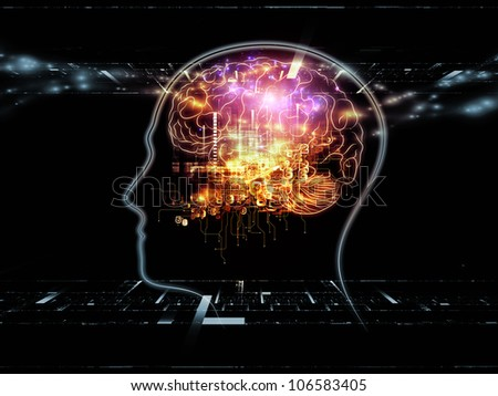 Arrangement of head outlines, lights and abstract design elements on the subject of intelligence,  consciousness, logical thinking, mental processes and brain power - stock photo