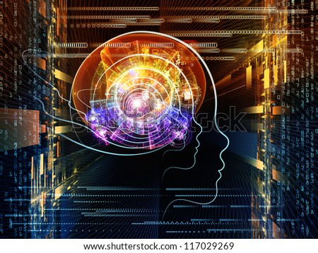 Arrangement of human head and fractal grids on the subject of science, technology and intelligent life in the Universe - stock photo
