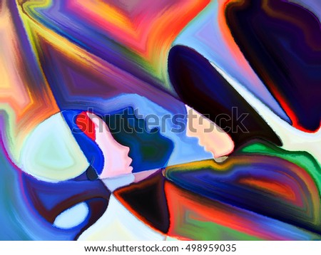 Arrangement of human profiles and colorful shapes on the subject of inner world, sacred reality, emotion, human destiny