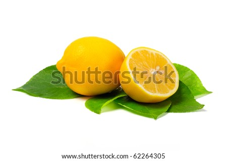 Arrangement of lemons on a white background
