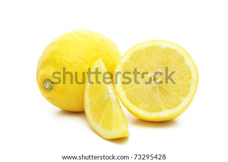 Arrangement of lemons on a white background. - stock photo