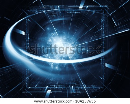 Arrangement  of lights, fractal concentric grids, technological lines suitable as a backdrop in projects on science, energy, signal processing  and modern technologies - stock photo