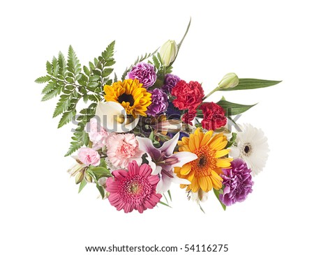 Arrangement of mixed flowers shot from above - stock photo